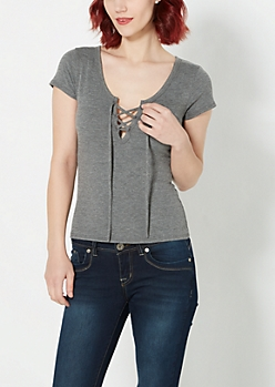 Charcoal Lace-Up Ribbed Tee