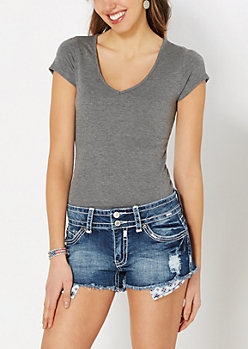 Charcoal V-Neck Ribbed Tee