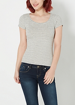 Gray Striped Ribbed Knit Tee