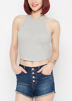 Gray Goddess Cropped Tank Top