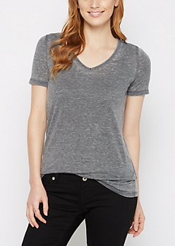 Charcoal Burnout V-Neck Tee