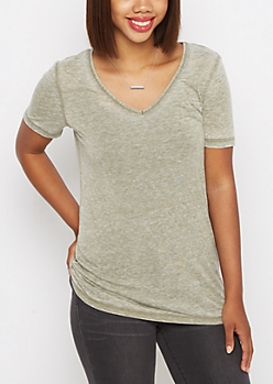 Olive Burnout V-Neck Tee