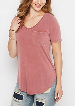 Red Pigment Wash Slouchy V Neck Tee