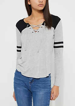 Black Athletic Striped Lace Up Tee