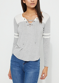 Gray Athletic Striped Lace Up Tee