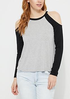 Black Cold Shoulder Jersey Top