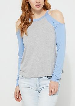 Blue Cold Shoulder Jersey Top