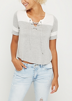 Gray Color Block Lace Up Tee