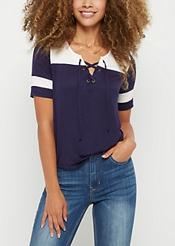 Navy Color Block Lace Up Tee
