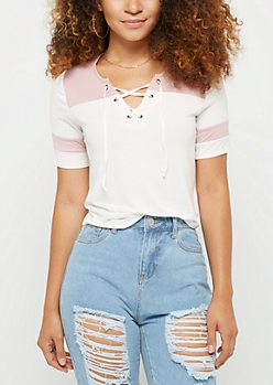 Pink Color Block Lace Up Tee