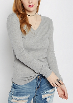 Heather Gray Slub Knit V-Neck Top