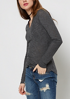 Charcoal Gray Slub Knit V-Neck Top