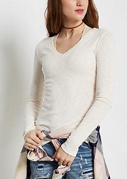 Ivory Slub Knit V-Neck Top