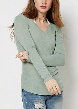 Mint Slub Knit V-Neck Top