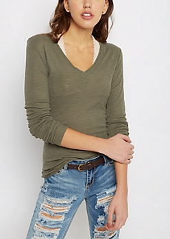 Olive Slub Knit V-Neck Top