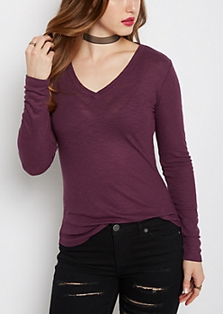 Plum Slub Knit V-Neck Top