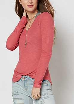 Dark Pink Slub Knit V-Neck Top
