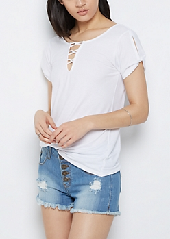 White Looping Lattice Vintage Tee
