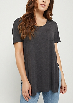 Charcoal Gray High Slit Pocket Tee