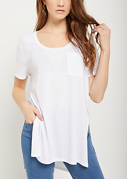 White High Slit Pocket Tee