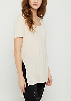 Oatmeal Heather High Slit Pocket Tee