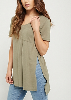 Olive High Slit Pocket Tee