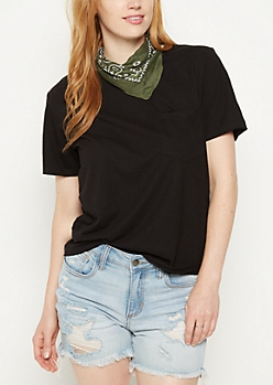 Black Heathered Pocket Boxy Tee