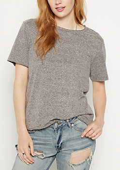Gray Heathered Pocket Boxy Tee