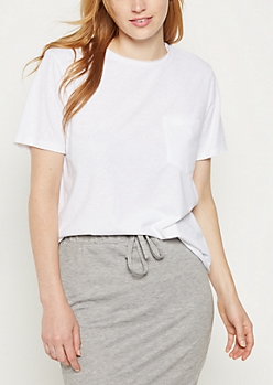 White Heathered Pocket Boxy Tee