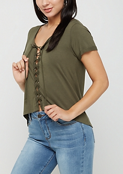 Olive Lace Up Tee