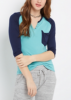 Mint & Navy Henley Shirt