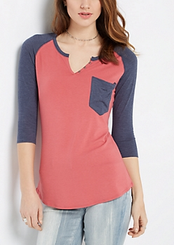 Red & Navy Henley Shirt