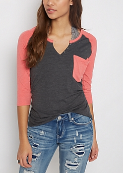 Coral & Charcoal Henley Shirt