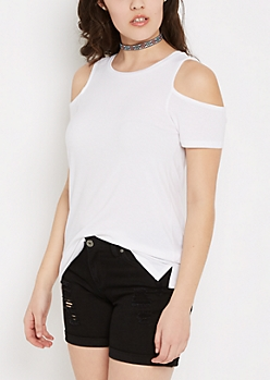 White Cold Shoulder Shirt