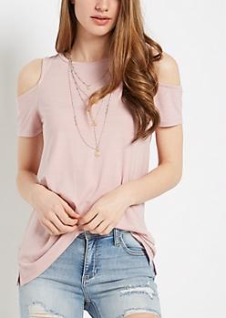 Pink Vintage Washed Cold Shoulder Shirt