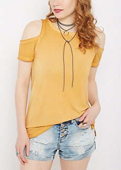 Mustard Vintage Washed Cold Shoulder Shirt