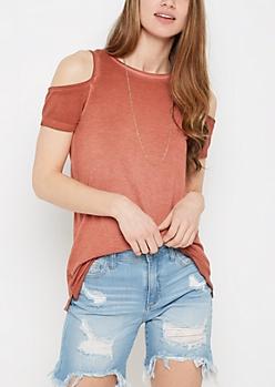 Burnt Orange Vintage Washed Cold Shoulder Shirt