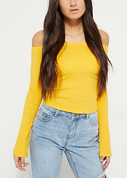 Yellow Rib Knit Off Shoulder Top