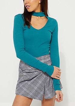 Teal Rib Knit Keyhole Cutout Shirt