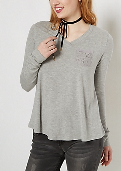 Gray Lace Pocket Raw Edge V-Neck Tee