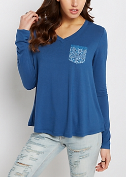 Deep Blue Lace Pocket Raw Edge V-Neck Tee