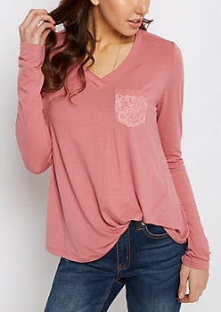 Pink Lace Pocket Raw Edge V-Neck Tee