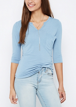 Light Blue Round Split Tee