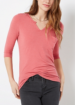 Heather Red Round Split Tee