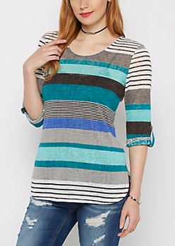 Turquoise & Teal Multi Striped Tunic Top