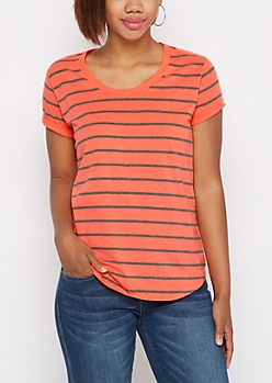 Neon Orange & Charcoal Striped High Low Tee
