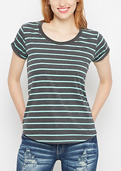 Mint & Charcoal Striped High Low Tee