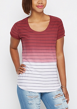 Burgundy Ombre Striped High Low Tee