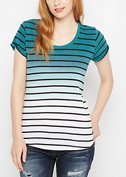 Teal Ombre Striped High Low Tee