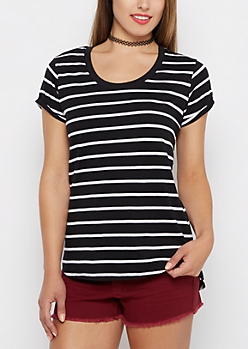 Black & White Striped High Low Tee